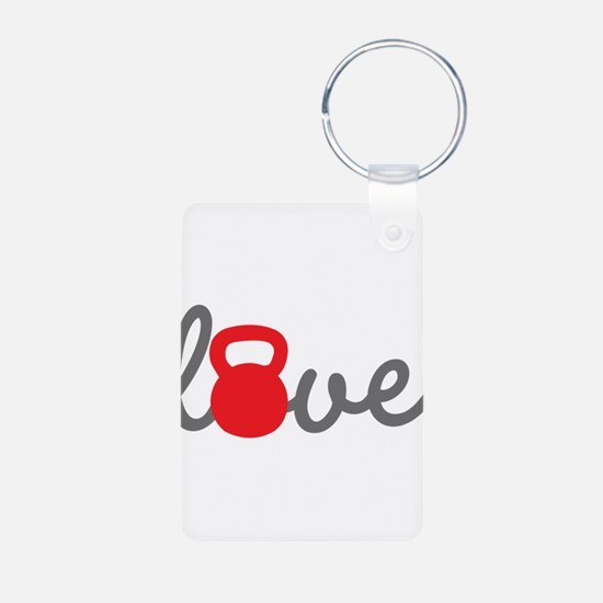 Love Kettlebell in Red Keychains