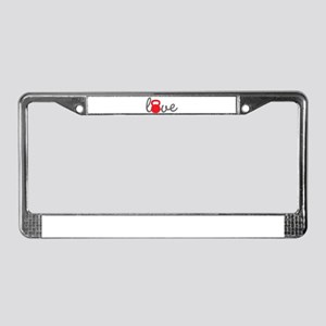Love Kettlebell in Red License Plate Frame