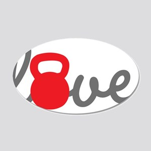 Love Kettlebell in Red 20x12 Oval Wall Decal