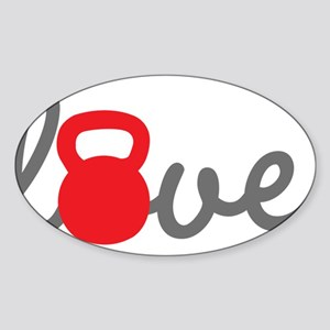 Love Kettlebell in Red Sticker (Oval)