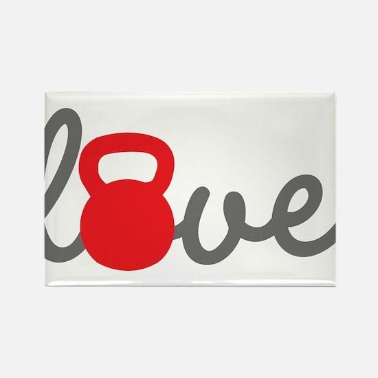 Love Kettlebell in Red Rectangle Magnet