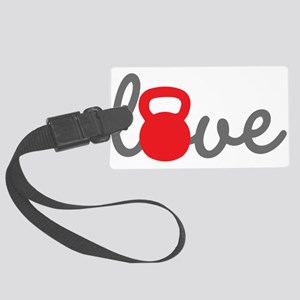 Love Kettlebell in Red Large Luggage Tag