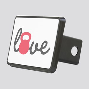 Love Kettlebell in Pink Rectangular Hitch Cover