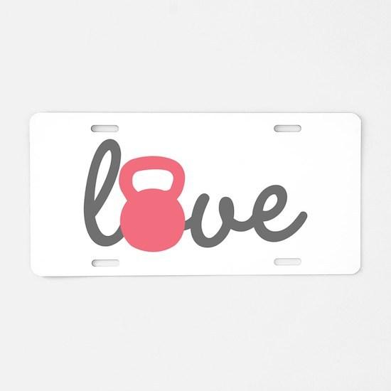 Love Kettlebell in Pink Aluminum License Plate