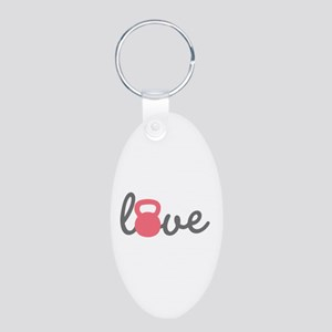 Love Kettlebell in Pink Aluminum Oval Keychain