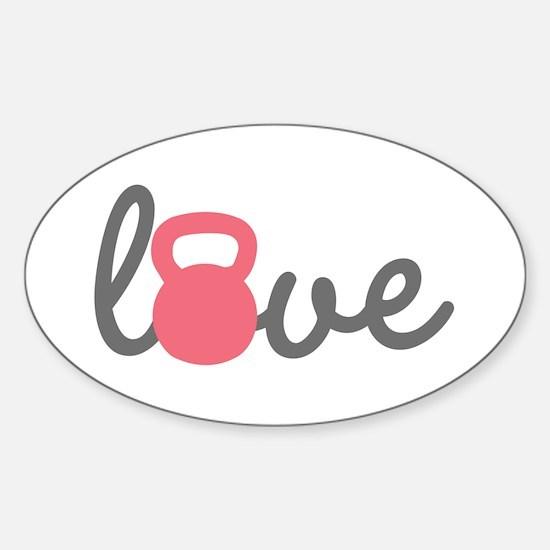 Love Kettlebell in Pink Sticker (Oval)