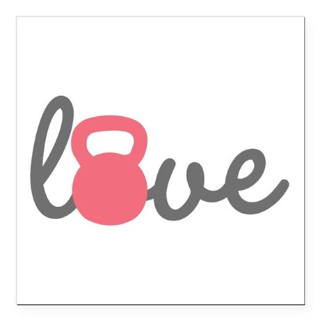 Love Kettlebell in Pink Square Car Magnet 3""