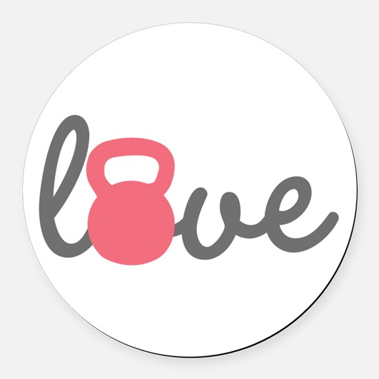 Love Kettlebell in Pink Round Car Magnet
