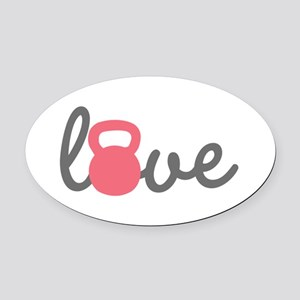 Love Kettlebell in Pink Oval Car Magnet