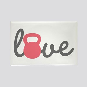Love Kettlebell in Pink Rectangle Magnet