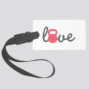 Love Kettlebell in Pink Large Luggage Tag