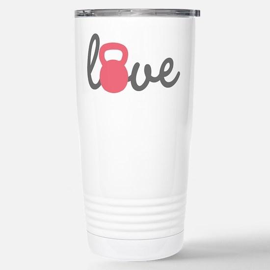 Love Kettlebell in Pink Stainless Steel Travel Mug