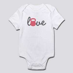 Love Kettlebell in Pink Infant Bodysuit