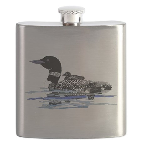 loon with babies Flask