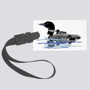 loon with babies Large Luggage Tag