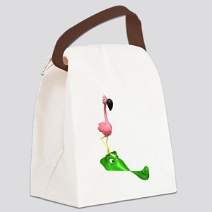 Flamingo and Gator Canvas Lunch Bag