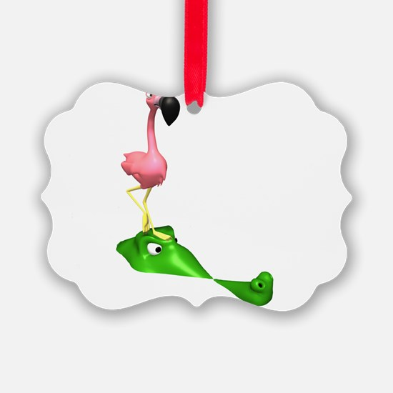 Flamingo and Gator.png Ornament