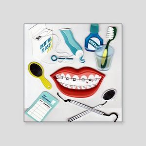 "brush your teeth Square Sticker 3"" x 3"""