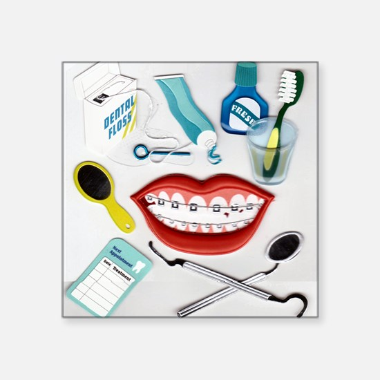 "brush your teeth.png Square Sticker 3"" x 3"""