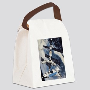 ShuttleatSpaceStationSmPoster Canvas Lunch Bag
