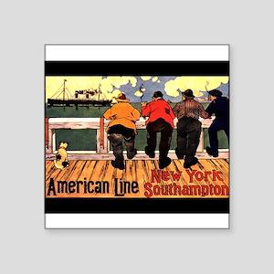 "AmericanLineShipsNoteCard Square Sticker 3"" x"