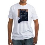 MeMe, the black cat Fitted T-Shirt