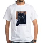 MeMe, the black cat White T-Shirt