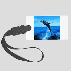 DolphinPhotoShowerCurtain Large Luggage Tag