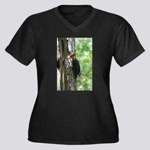 Pileated Woodpecker Women's Plus Size V-Neck Dark