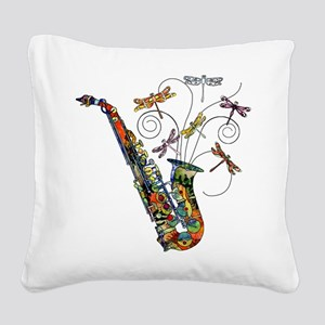 wild Saxophone Square Canvas Pillow