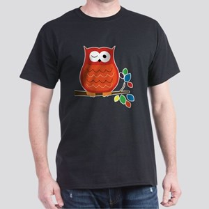 Bold Orange Owl with leaves Dark T-Shirt