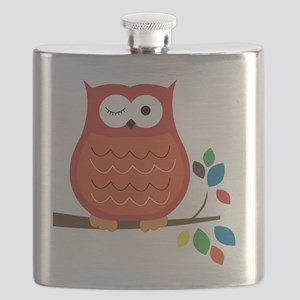 Bold Orange Owl with leaves Flask