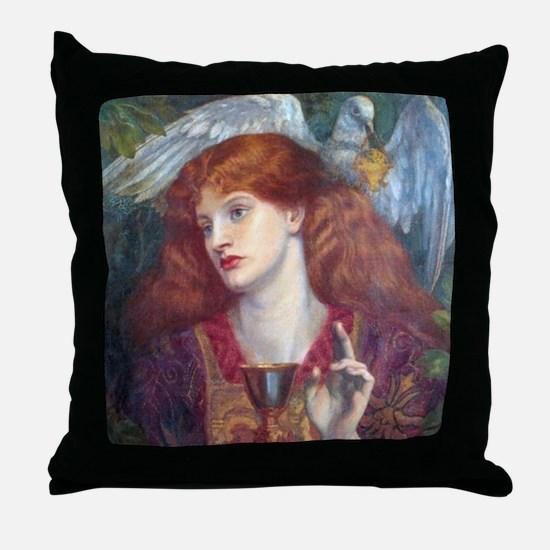 Rossetti Damsel Sanct Grael Throw Pillow