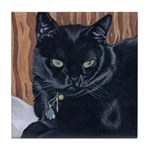 MeMe, the black cat Tile Coaster