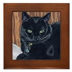 MeMe, the black cat Framed Tile
