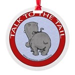 Hippo Talk To The Tail Round Ornament