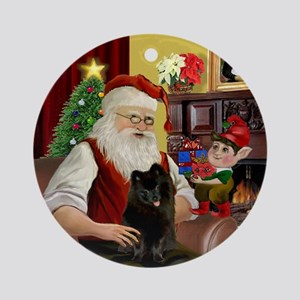 Santa's Black Pom (B) Ornament (Round)