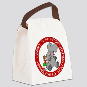 FIN-hippo-christmas-girl Canvas Lunch Bag