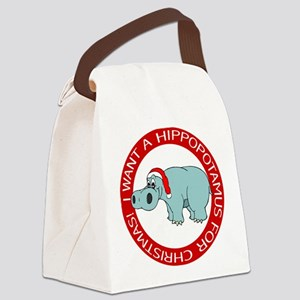 FIN-hippo-christmas-rev Canvas Lunch Bag