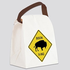 crossing-sign-bison Canvas Lunch Bag