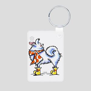 Samoyed Eskie Snowflake Aluminum Photo Keychain
