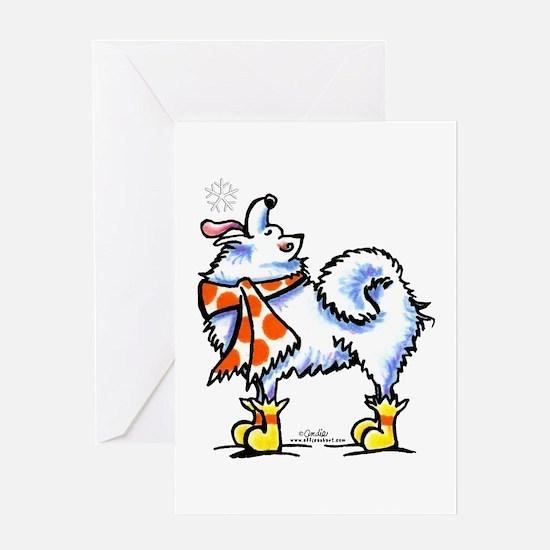 Samoyed Eskie Snowflake Greeting Card