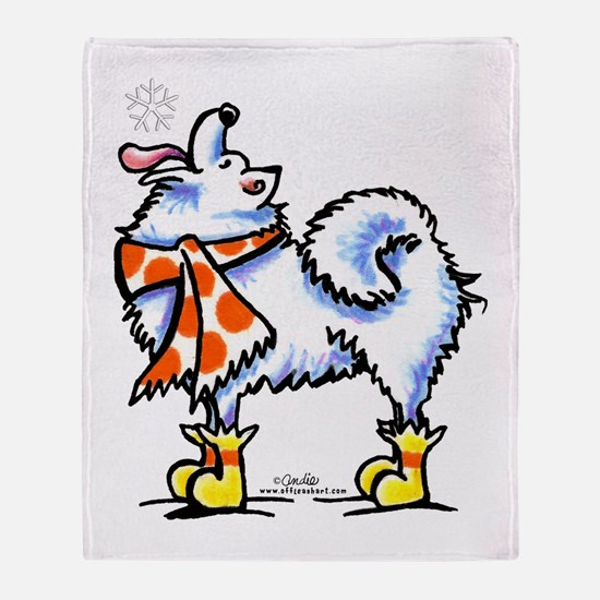 Samoyed Eskie Snowflake Throw Blanket