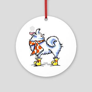 Samoyed Eskie Snowflake Ornament (Round)