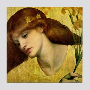 Sancta Lilias by Rossetti Tile Coaster