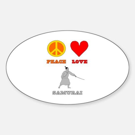 Peace Love Samurai Sticker (Oval)