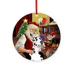 Santa's Great Dane (Harl) Ornament (Round)