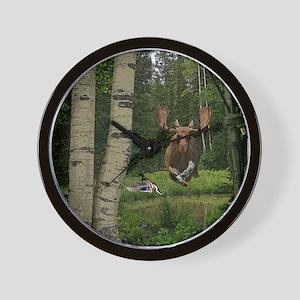 Moose at water hole Wall Clock