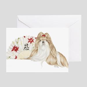 Shih Tzu Christmas SP Brown White Greeting Cards (