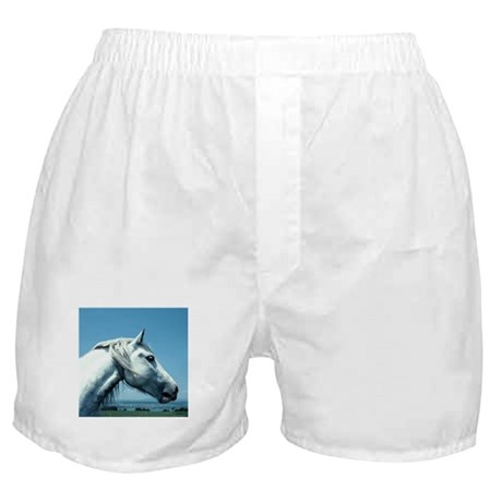 White Arabian Horse Boxer Shorts